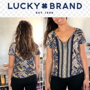 Lucky Brand Pattern Crochet Trim Top